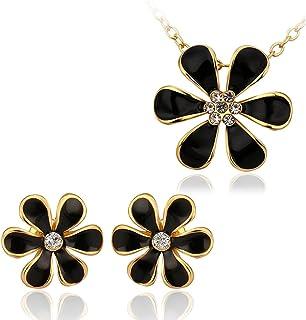 Nykkola, set di gioielli con collana e orecchini placcati in oro 18 ct, con zirconia cubica e ciondolo a forma di girasole