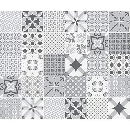 Ambiance-Live Piastrelle di Cemento Adesivo da Parete, Nuance de Gris Romantique, 20 x 20 cm