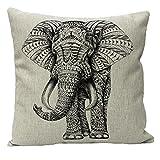 JOTOM Funda de cojín Suave de Lino de algodón para un sofá Cama Decorativo de 45 x 45 cm (Elefante)