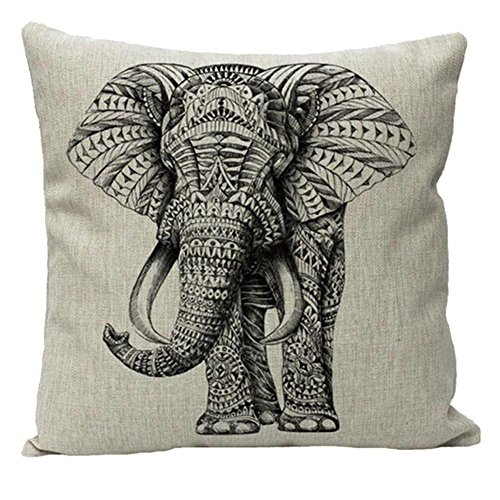 JOTOM Elephant Cushion Covers Sofa Throw Pillow Case Cotton Linen Throw Pillows Cover for Car Home Decor 45x45cm (Elephant)