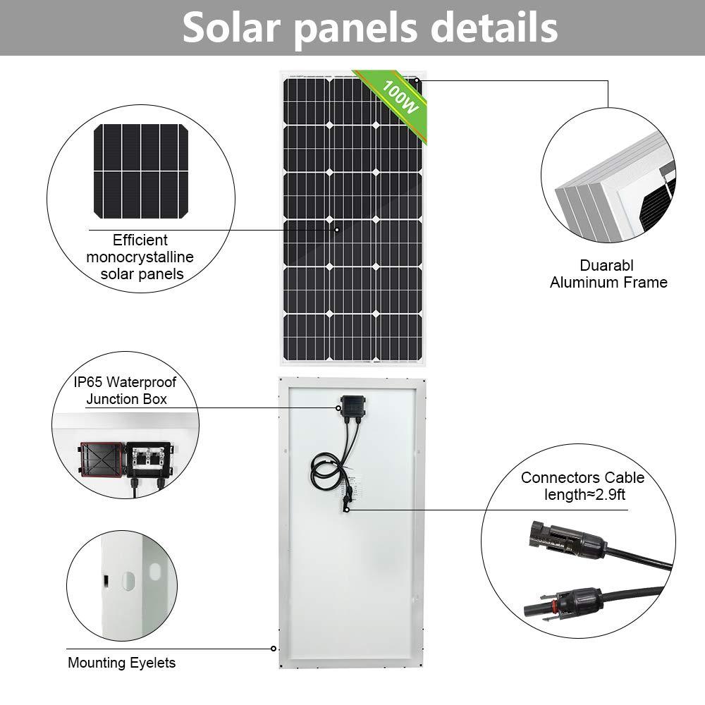 Solar Panel High Efficiency Monocrystalline Module for RV Camper ECO-WORTHY 240W 2 pcs 120W