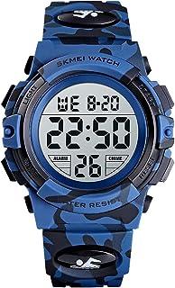 ساعات SKMEI للأطفال أضواء فلاش 50 متر مقاومة للماء كرونوغراف رقمية للأولاد والبنات ساعات رياضية زرقاء