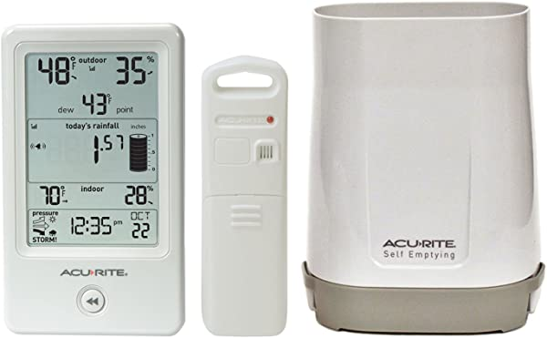 AcuRite 01089M Rain Gauge With Thermometer Humidity