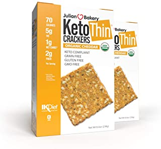 Julian Bakery Keto Thin Crackers   Organic Cheddar   USDA Organic   Gluten-Free   Grain-Free   GMO Free   Low Carb   2 Pack