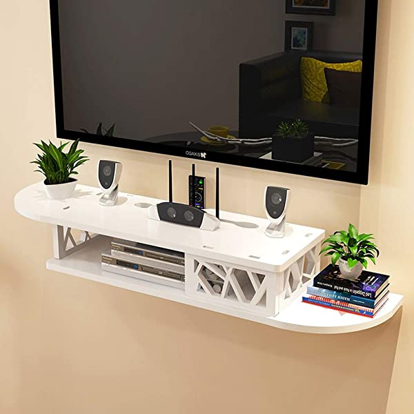 Wall Shelf Wall Mounted TV Shelf WiFi Router Set Top Box DVD Player CD Storage Shelf Floating Shelf TV Stand TV Console White Color B
