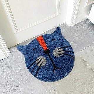 """Cute Doormat for Kids - Microfiber Absorbent Bathroom Mats - Front Door Mat Carpet Floor Rug - 23.6""""x23.6"""", Cat Shape"""