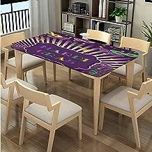 LQQBSTORAGE Elastic Edge Microfiber Tablecloth, Mardi Gras Cartoon Pattern Printing, Elastic on The Corner Suitable for Kitchen Fits Rectangular Tables:104