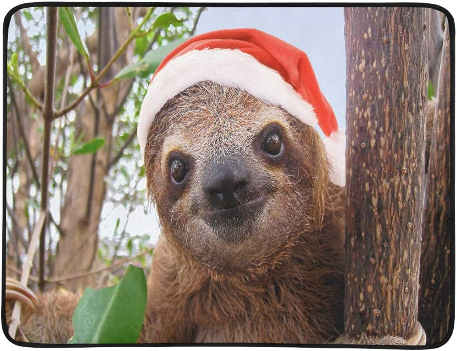 Baby Sloth in A Christmas Santa Hat Pattern Portable and Foldable Blanket Mat 60x78 Inch Handy Mat for Camping Picnic Beach Indoor Outdoor Travel