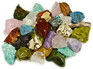 Hypnotic Gems Materials: 3 lbs (BEST VALUE) Hand Bagged 17 Stone Type Madagascar Mix - Natural Raw Stones & Fountain Rocks for Cabbing, Cutting, Lapidary, Tumbling, Polishing & Reiki Crystal Healing
