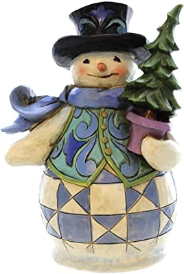 Jim Shore for Enesco Heartwood Creek Pint Sized Snowman with Tree Figurine, 5-Inch