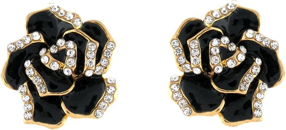 Black Enamel & Clear Crystal Rose Clip On Earrings
