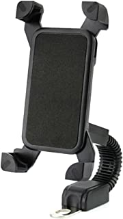 """Motorcycle Phone Mount,DHYSTAR Universal Cell Phone Holder Mount Bracket Stand for Motorcycle,Scooter,Motorbike Install on Handelbar Mirror Base, Adjustable Fits 4"""" to 7"""" Smartphones -Black"""