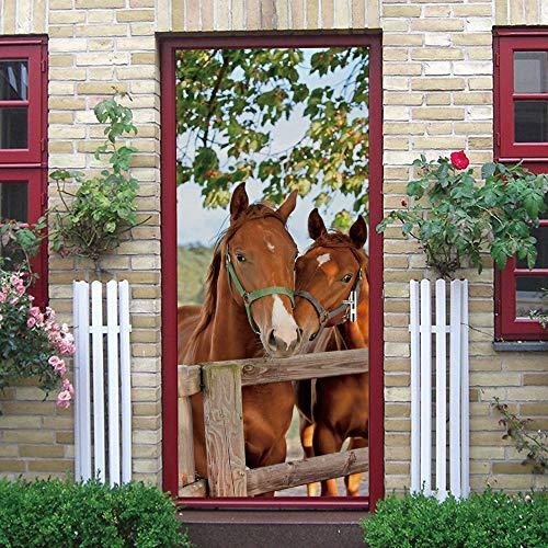 Etiqueta Engomada Del Arte Mural De La Puerta 3D,77X200Cm Caballo Animal Papel Pintado Autoadhesivo Calcomanía De Vinilo Para La Puerta, Carteles Pegatinas De Pared Diy Decoraciones