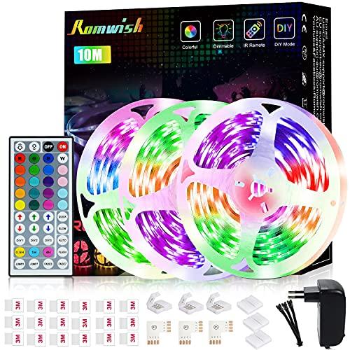 Tira LED 15M, Romwish RGB SMD 5050 Luces LED Kit de Cambio de Color con Control Remoto de 44 Teclas y Fuente de Alimentación, para Dormitorio, Cocina, TV, Fiesta,...