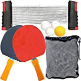 PARTYKA Table Tennis Bats Balls Set Portable Ping Pong Game Indoor Outdoor Pingpong
