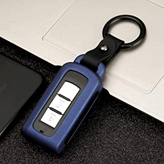For Mitsubishi Outlander Lancer EX ASX Pajero, Carbon Fiber Alloy Car Key Case Smart Remote Car Key Case Cover Protector
