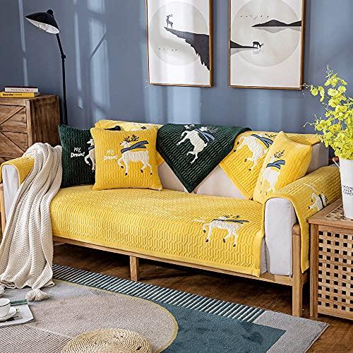 Homeen Cubierta de sofá Antideslizante de Felpa,Protector de sofá de 2/3/4 plazas,Funda de sofá de Invierno de otoño para sofá de Esquina/l sofá de Esquina-Amarillo_110 * 180 cm