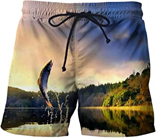 Men'S Shorts 3/4 Beach Shorts 3D Fish Casual Straight Printed Shorts