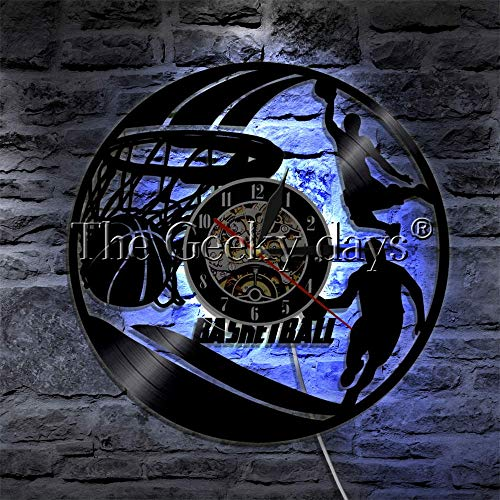 Reloj de pared con diseño de ventilador de baloncesto Upcycled vinilo Record reloj de pared Slam Dunk LP hecho a mano regalo para el fanático de los deportes de baloncesto con luz nocturna LED