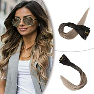 Full Shine 16 Inch Remy Human Hair Clip In Extensions Ombre Clip in Hair Extension 50 Gram 7 Pcs Per Set Double Weft Hair Color 1B Off Black Fading to 18 Blonde Hair With Clips For White Women
