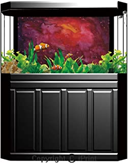 Aquarium Fish Tank Background,Outer Space Decor,Tunnel with Neon Lights Passage Mercury Lunar Orbit Inspired Stardust Art,Blue Black,Decor Paper Green Water Grass Aquatic Style Like Real,W24.02