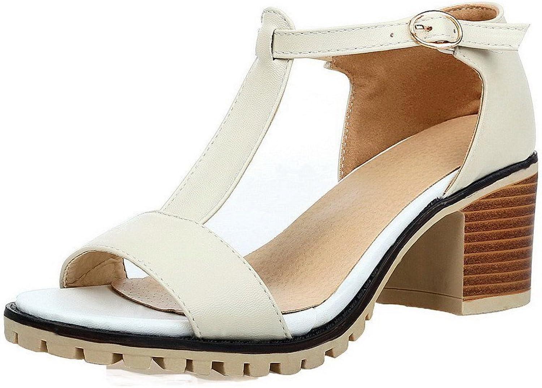 AllhqFashion Women's Buckle Open Toe Kitten-Heels Solid Sandals, FBULC012352