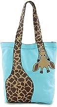 Cute Bending Giraffe Teal Embroidered Tote Bag Animal Print Purse