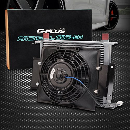 """7"""" Fixed Cooling Fan + 30 Row 10AN Aluminum Universal Engine Transmission Oil Cooler Kit"""