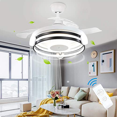 popular DLLT Modern Ceiling Fan with online sale Light and Remote, 30W LED Chandelier Ceiling Fans, 3-Retractable Blades, 3 Speeds Ceiling Fan wholesale Light Kit for Kitchen Living Room Bedroom, 3 Color Changeable, Timing online sale
