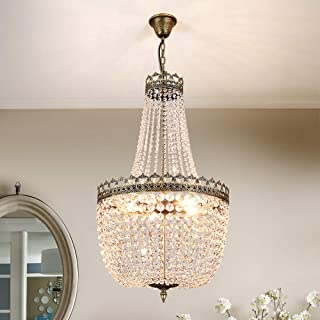 Lumos French Empire Antique Bronze 5 light Crystal Chandelier Ceiling Pendant Lighting Fixture Lamp for dining room, Living room, Foyer, Lobby, Hallway