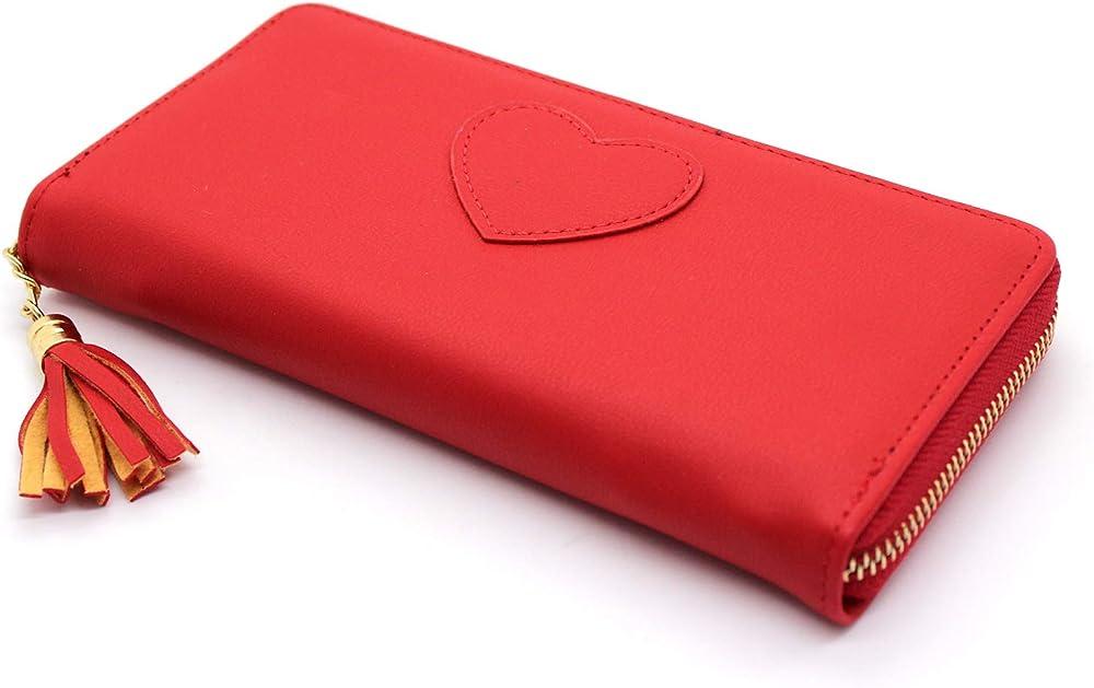 Portafoglio da donna con cerniera zip con porta carte di credito in pelle sintetica rosso