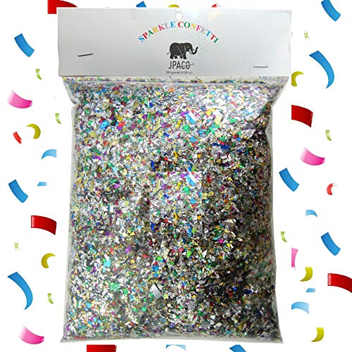 Sparkle Metallic Confetti - Jumbo Mylar Rainbow Foil Confetti Bag Perfect for New Years, Surprise Parties, Birthdays, Photo Shoots, Engagements & Weddings (300 Grams) by JPACO