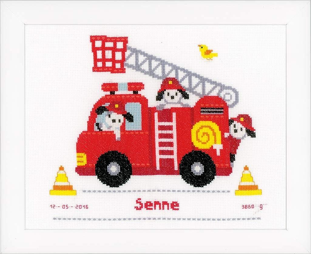 Vervaco Birth Record Fire Truck Cross Stitch Kit