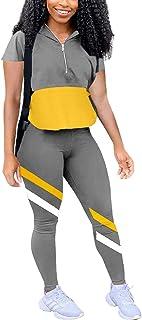 Bornpom Womens 2 Piece Outfits Color Block Half Zip Long Sleeve Pullover Sweatshirts Skinny Pants Set