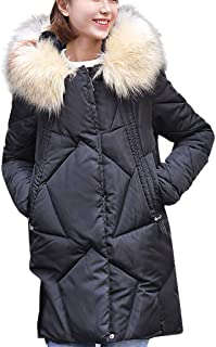 Women Winter Jacket Thick Parka Coat Warm Lined Puffer Jacket Coat Hooded Outdoorjacket with Fluffy Faux Fur Hood