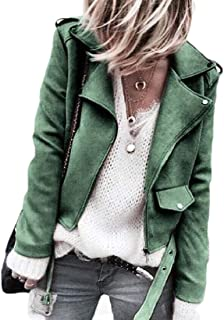 Womens Sport Coat Oblique Zipper Lapel Sueded Jacket