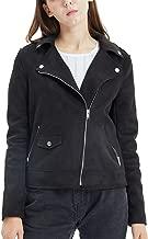 Fahsyee Women's Suede Jacket, Moto Biker Coat Faux Leather Casual Zip Up Soft Long Sleeve Outwear