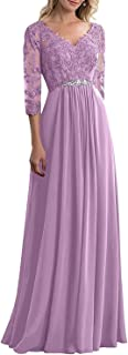 Sponsored Ad - Mother of The Bride Dresses Formal Evening Party Dress Chiffon Lace Appliques V Neck with Sleeves