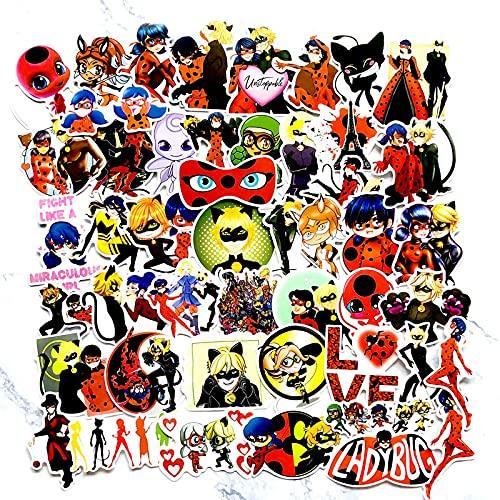 YLGG 50 Pegatinas de Graffiti Impermeables Ladybug Heroes para portátiles, patinetas, Maletas, Cascos, teléfonos móviles, Motos, etc.