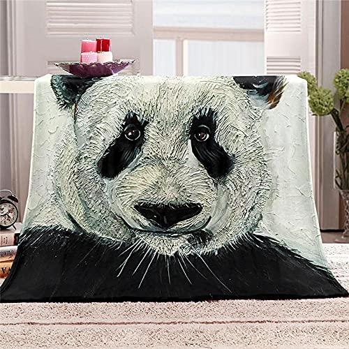 BLZQA Manta de Gran tamaño, cálida para Adultos, súper Suave con Franela Suave Antibolitas, para Adultos y niños, impresión 3D Panda Gigante,130 x 150 cm