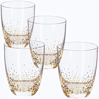 Trinkware 229700-4OFJF Luster Gold Set of 4 Double Old Fashioned Rocks Glasses For Water Scotch Whiskey Juice, 5x5x5