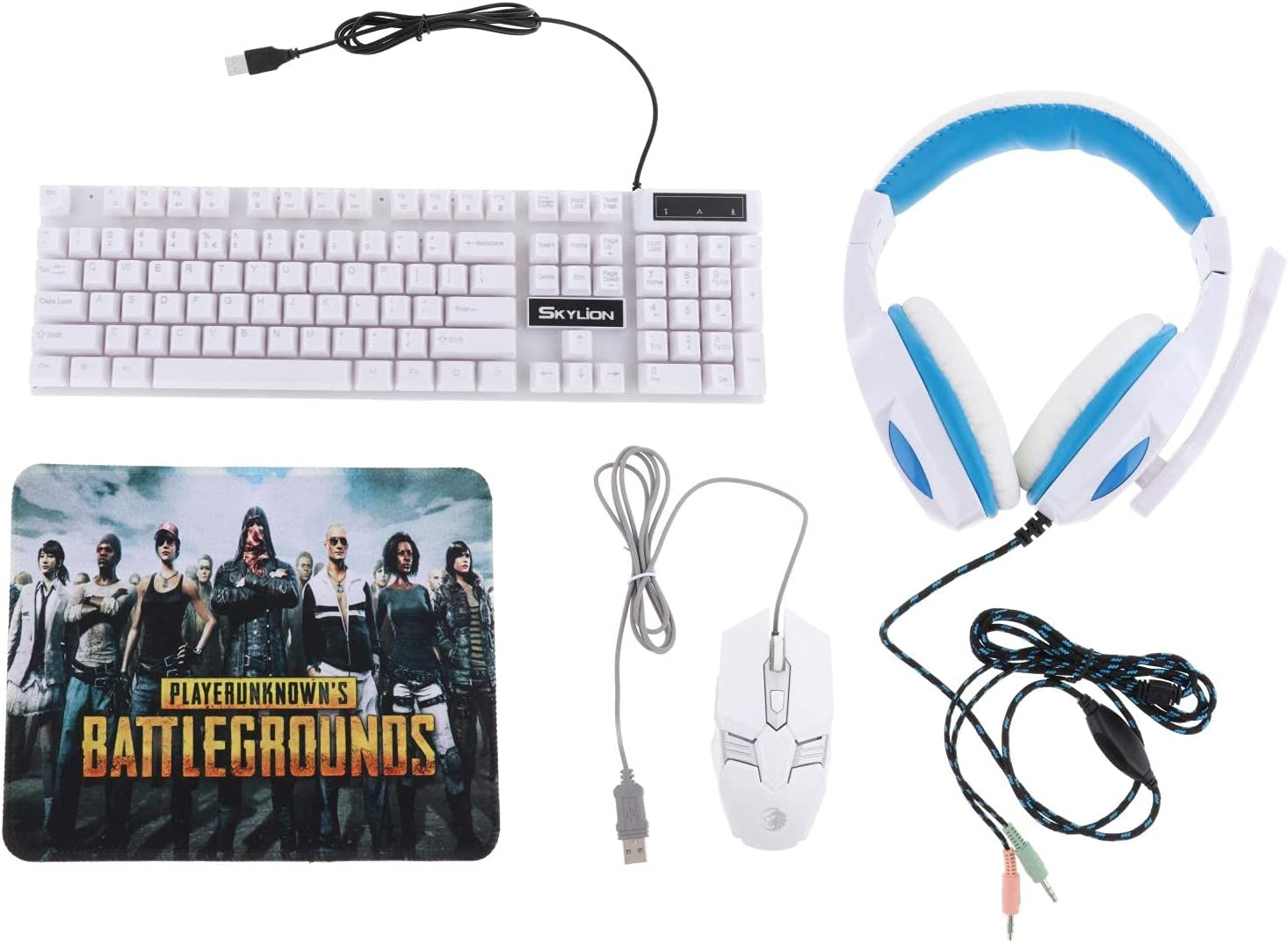 Kesoto Gaming Keyboard Mouse Headset & Mouse Pad Kit,Programmable Mouse, Wired USB Keyboards,Gaming Keyboard Combo, for Computer Desktop Gamer - White