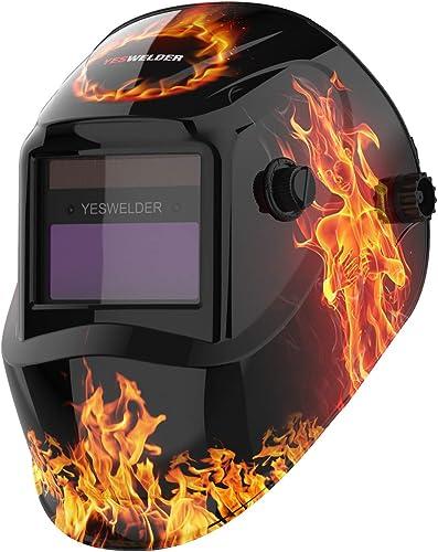 YESWELDER True Color Solar Powered Auto Darkening Welding Helmet, Wide Shade 4/9-13 Welder Mask Weld Hood for TIG MIG...
