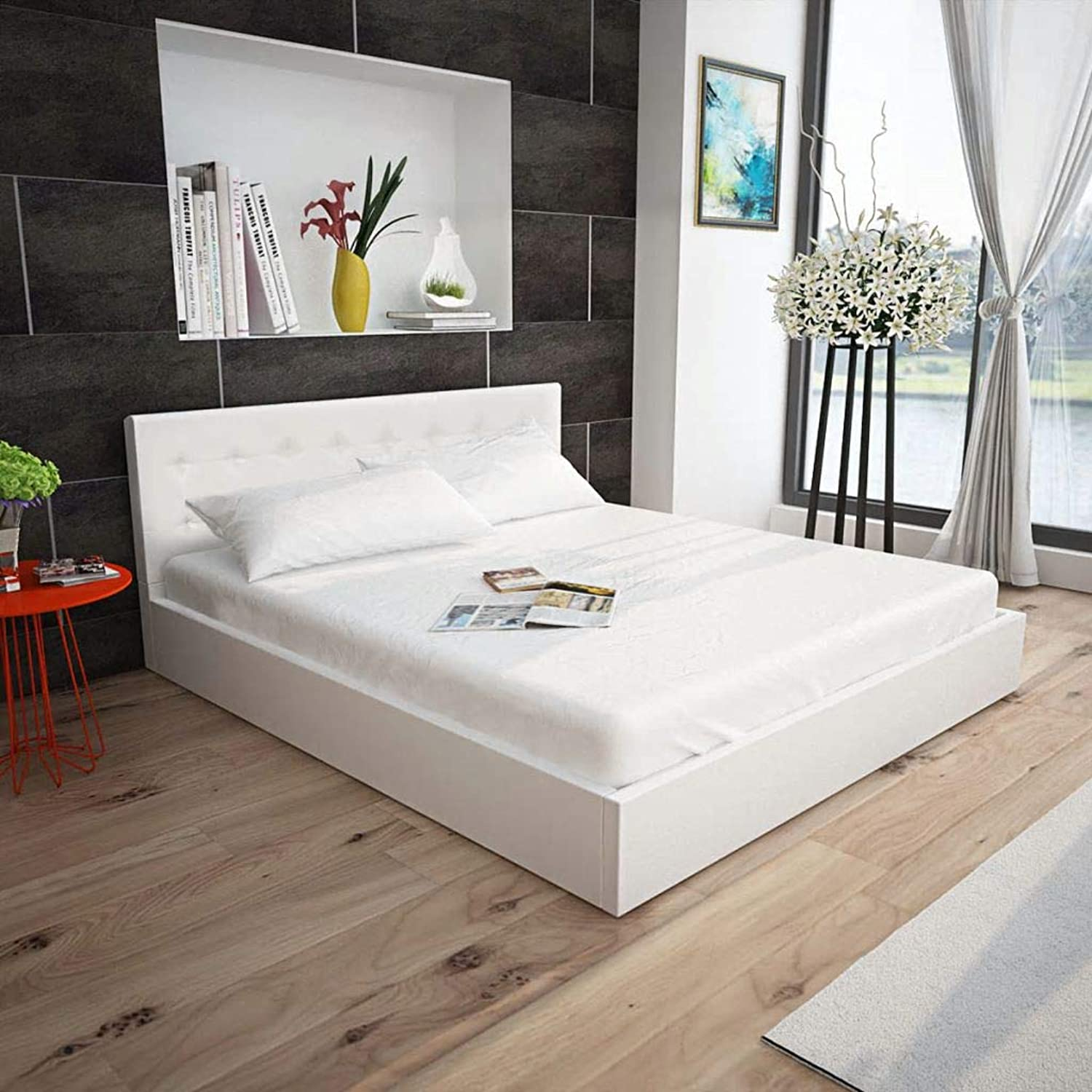 Festnight Bed Frame Double Size Bedroom Furniture Bed Frame Artificial Leather White,199 x 145 x 74 cm
