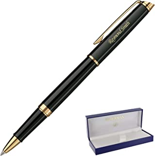 Dayspring Pens | Personalized WATERMAN Hemisphere Black with Gold Trim Rollerball Gift Pen - Custom engraved fast!