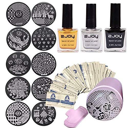 3pcs noir doré argent 10ml spécial émail estampage émail, salon de design beauté ongles avec motif de transfert estampé rose, et matrice avec ensemble de 10 modèles de grattoir au hasard