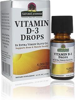 Natures Answer Platinum Vitamin D3 4000 IU Supplement Liquid Drop, 0.5 Ounce - 2 per case. | Immune Booster | Promotes Mus...