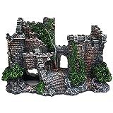 ANCLLO Decoración de castillo de resina medieval para acuario, decoración de paisaje de pecera, refugio de castillo para acuario reptil Betta Fish