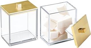mDesign Modern Square Bathroom Vanity Countertop Storage Organizer Canister Jar Cotton Swabs, Rounds, Balls, Makeup Sponge...