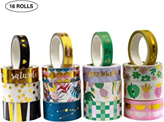 16 Rolls Gold Foil Washi Tape Glitter Washi Tape Set Gold Decorative Washi Tape Set 10-15 - 20MM Wide Japanese DIY Masking Tape